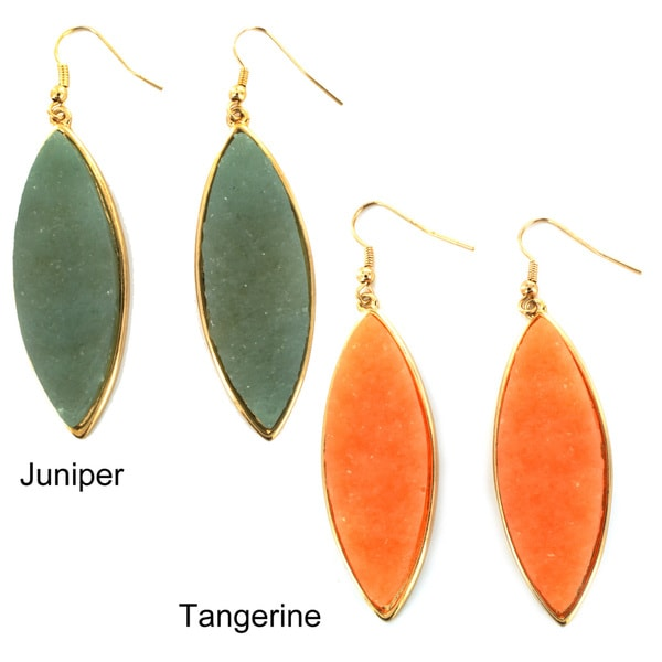 Goldtone Marquise-shaped Faux Druzy Earrings