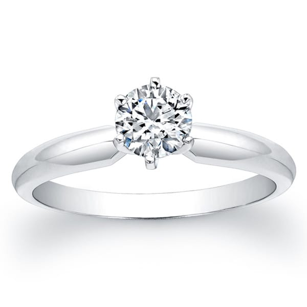 14k White Gold 1/2ct TDW 6-Prong Diamond Solitaire Engagement Ring (H-I, SI2)