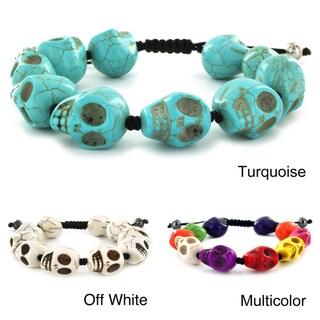 West Coast Jewelry Resin Skulls Adjustable Black Pull Cord Bracelet