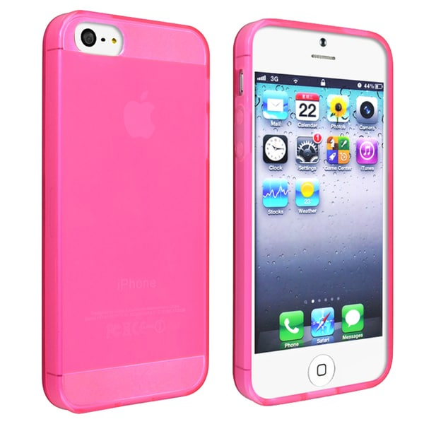 INSTEN Frost Clear Hot Pink TPU Phone Case Cover for Apple iPhone 5/ 5S/ SE