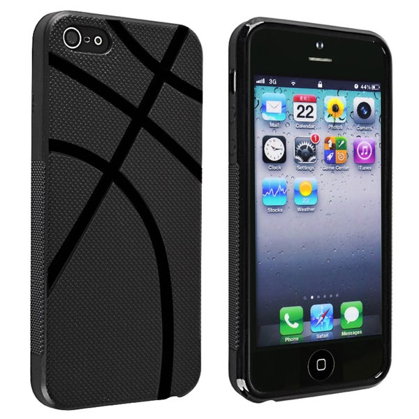 INSTEN Black Basketball Shape TPU Phone Case Cover for Apple iPhone 5