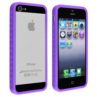 INSTEN Purple Bumper TPU Phone Case Cover for Apple iPhone 5