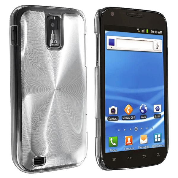INSTEN Clear/ Silver Aluminum Hybrid Phone Case Cover for Samsung Galaxy S II T989