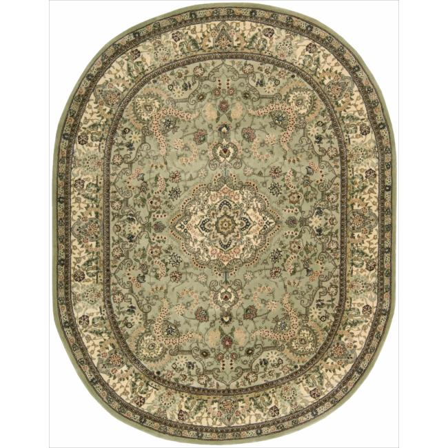 Nourison 2000 Hand-tufted Tabriz Light Green Rug (7'6 x 9'6) Oval