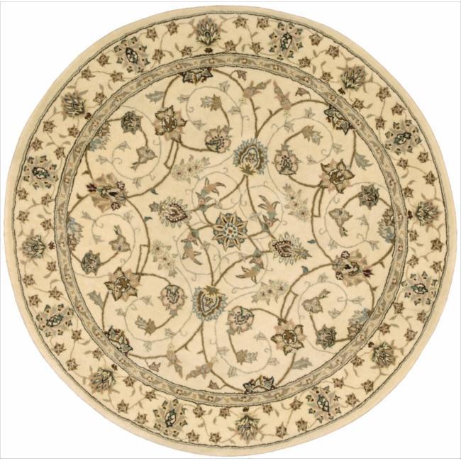 Nourison 2000 Hand-tufted Tabriz Ivory Rug (4 x 4) Round