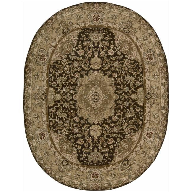 Nourison 2000 Hand-tufted Tabriz Chocolate Rug (7'6 x 9'6 Oval)