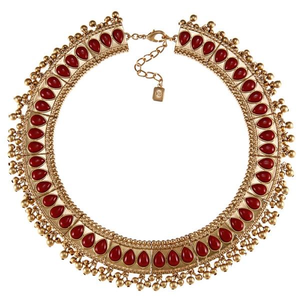 Ralph Lauren Red Plastic Bead Bib Necklace