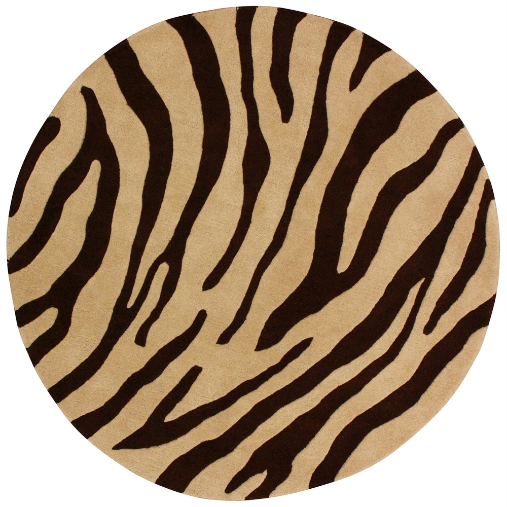 nuLOOM Handmade Modern Zebra Brown / Beige Wool Rug (6' Round)
