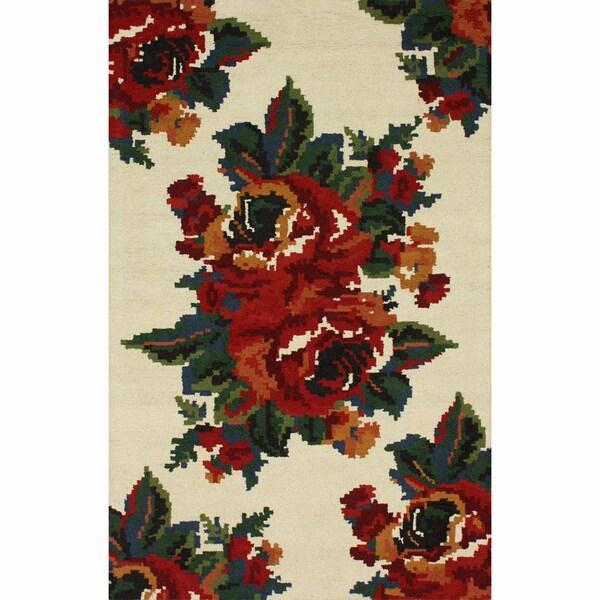 nuLOOM Handmade Mosaic Floral Ivory Wool Rug (5' x 8')