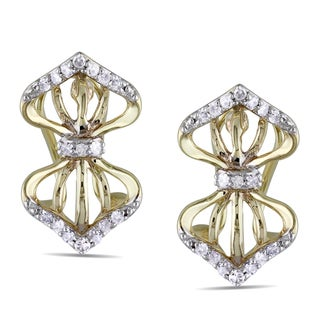 Miadora 14k Yellow Gold 1/6ct TDW Diamond Leverback Earrings (H-I, I2-I3)