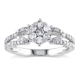 Miadora 10k White Gold 1/2ct TDW Diamond Cluster Ring (H-I, I2-I3)