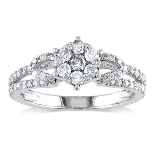 Miadora 10k White Gold 1/2ct TDW Diamond Cluster Ring (H-I, I2-I3) with Bonus Earrings