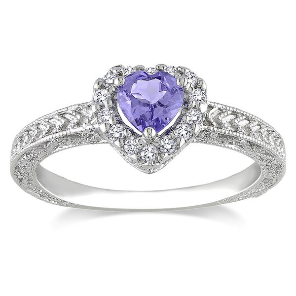 Miadora Sterling Silver Tanzanite and 1/6ct TDW Diamond Ring (H-I, I3)