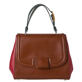 Fendi Brown/ Red/ Green Leather Handbag