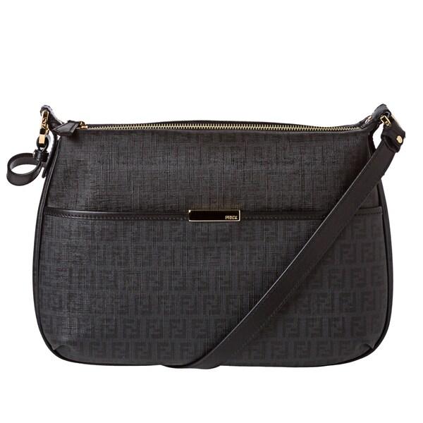 Fendi Black Zucchino Coated Canvas Shoulder Bag