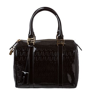 Fendi Patent Leather Boston Handbag