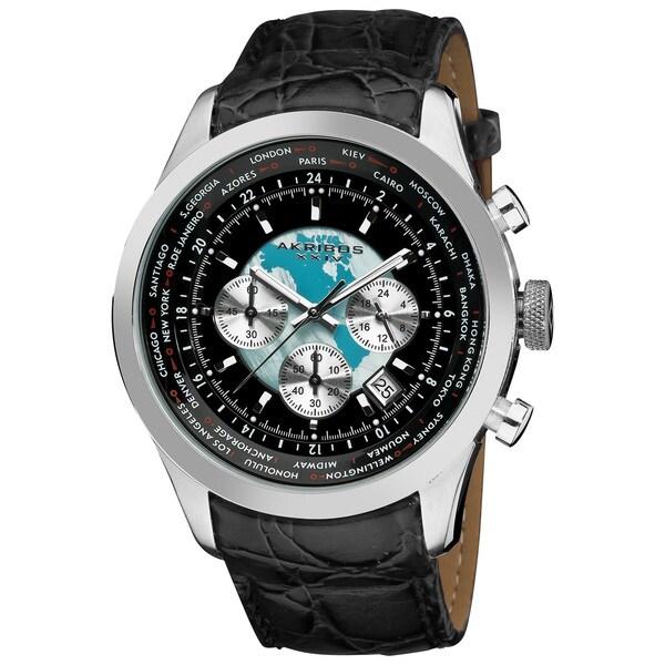Akribos XXIV Men's Stainless Steel Leather Strap Silver-Tone Chronograph Watch