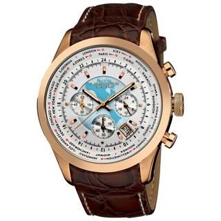 Brown Akribos XXIV Men's Stainless Steel Leather Strap Chronograph Watch