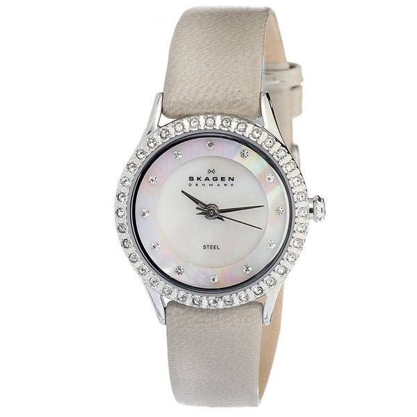 Skagen Women's Stainless Steel Beige Leather Strap Watch