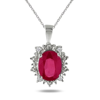 Sterling Silver 3ct TGW Ruby and Diamond Accent Necklace