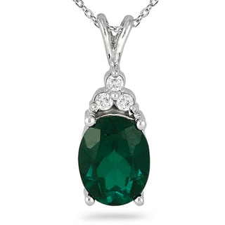 Sterling Silver 2 1/4ct TGW Created Emerald and Diamond Accent Necklace
