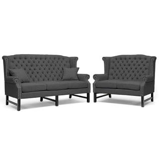 Sussex Dark Gray Linen Sofa Set