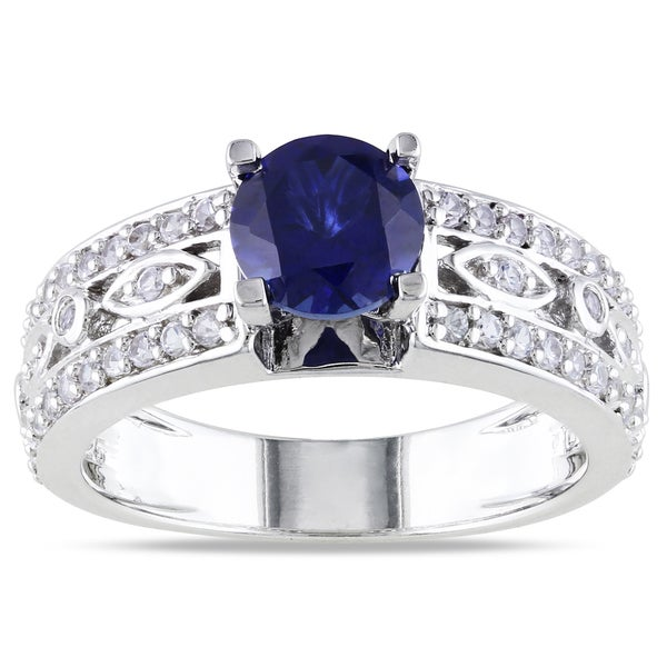 Miadora Sterling Silver Created Blue and White Sapphire Engagement Ring
