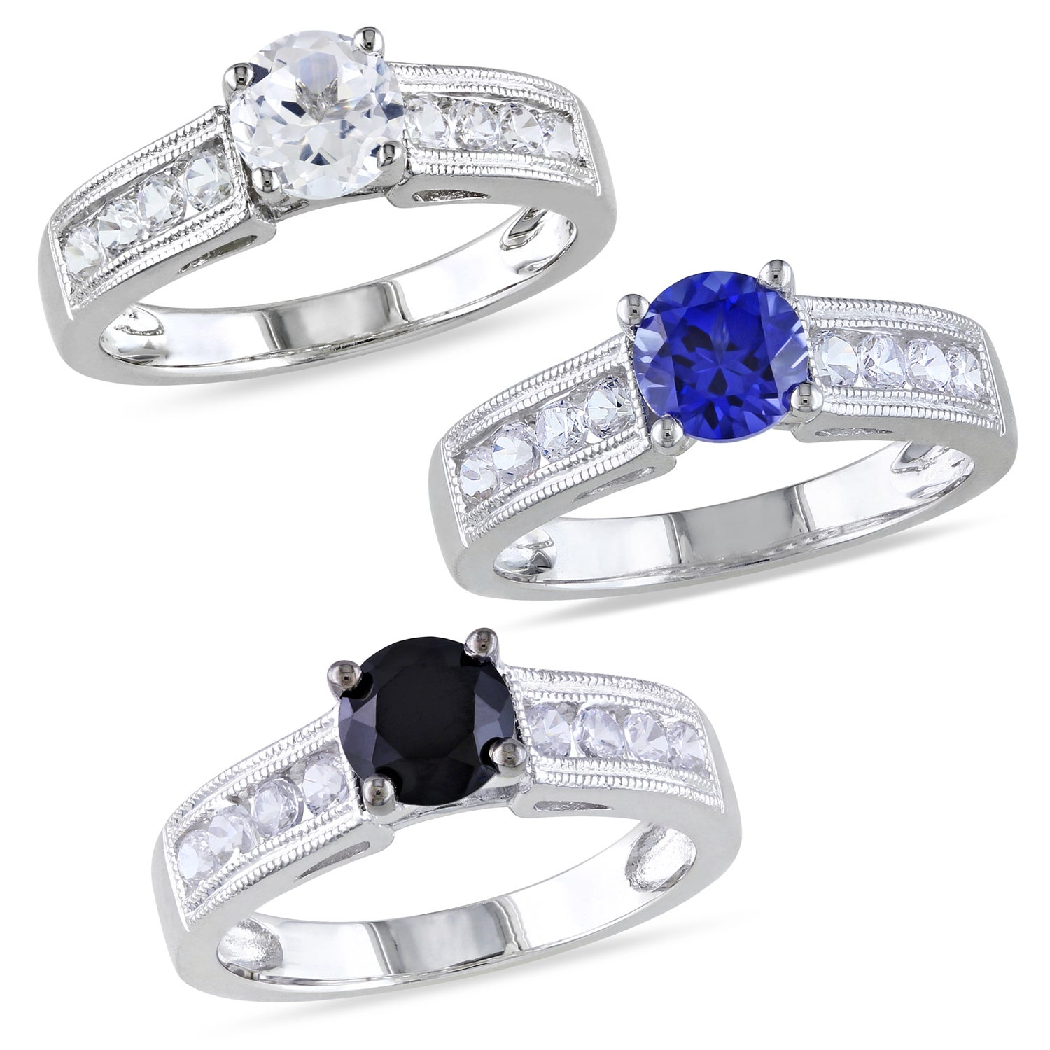 Miadora Sterling Silver Black Spinel or White Sapphire Ring