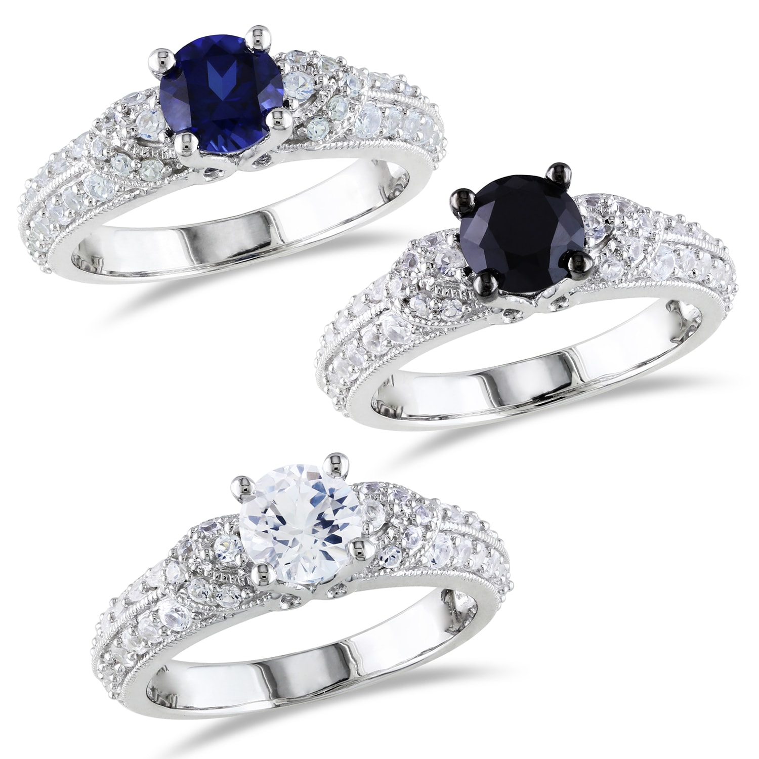M by Miadora Sterling Silver Black Spinel or Sapphire Engagement Ring