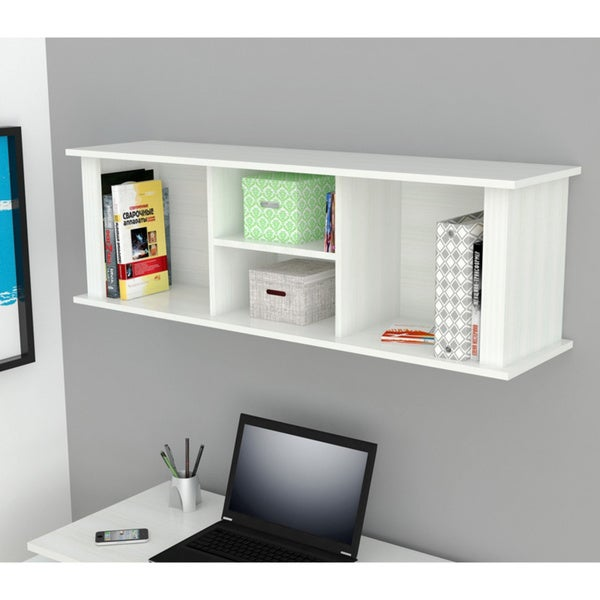 Inval White Wall Mount Hutch Bookcase