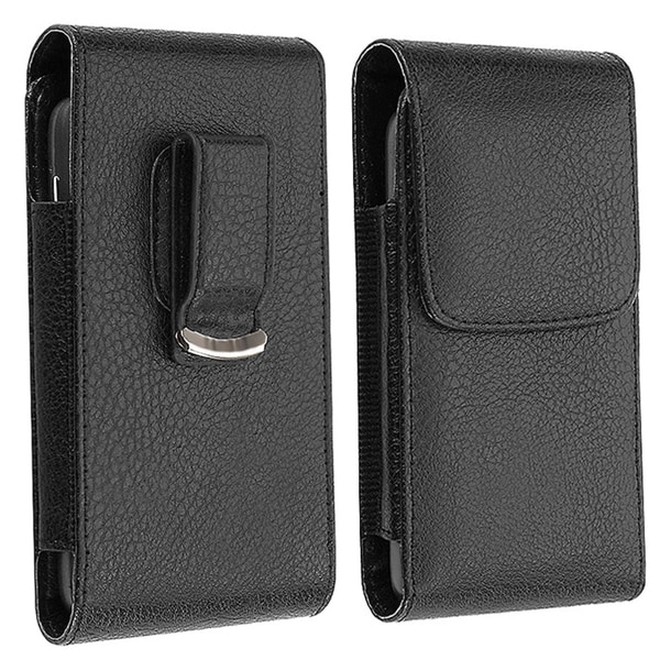 INSTEN Black Synthetic Leather Phone Case Cover with Magnetic Flap
