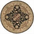 Nourison 2000 Traditional Hand-Tufted Tabriz Black Rug (6' x 6' Round)