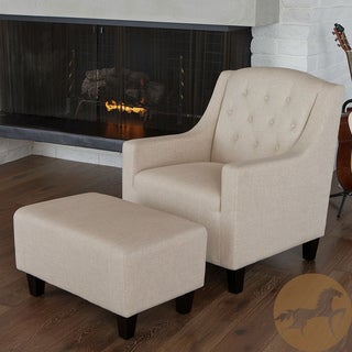 Christopher Knight Home Elaine Tufted Fabric Club Chair and Ottoman