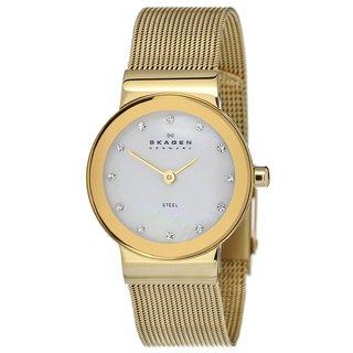Skagen Women's Goldtone Mesh Bracelet MOP Dial Watch