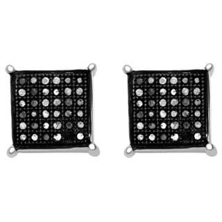 10k White Gold 1/5ct TDW Black Diamond Square Earrings