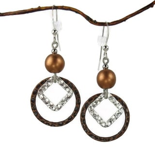 Antique Copper Hammered Drop Earrings