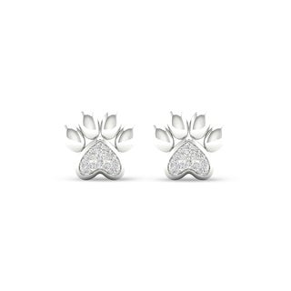 De Couer 10k White Gold Diamond Accent Dog Paw Print Earrings