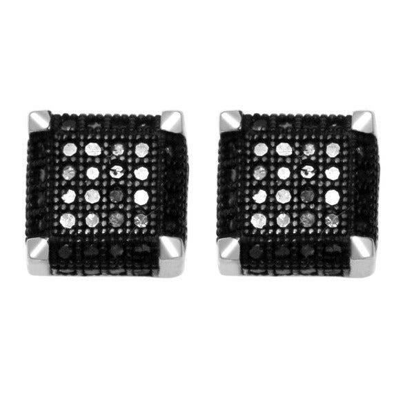 De Couer 10k White Gold 1/3ct TDW Black Diamond Cube Earrings