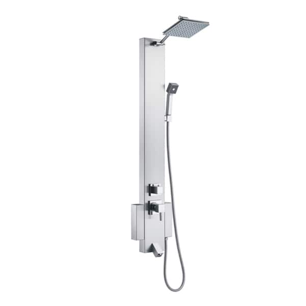 Blue Ocean 48-Inch Silver Stainless-Steel Shower Panel Tower with Rainfall Shower Head