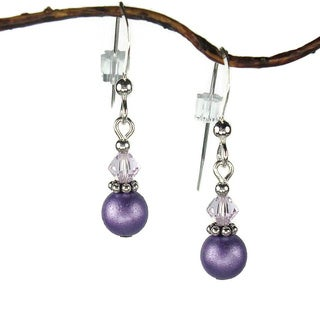 Purple Double Bead With Crystal Sterling Silver Earrings