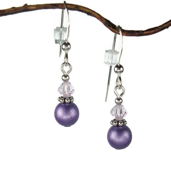 Jewelry by Dawn Small Purple Double Bead with Crystal Sterling Silver Earrings 9791819