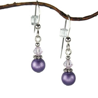 Jewelry by Dawn Small Purple Double Bead with Crystal Sterling Silver Earrings