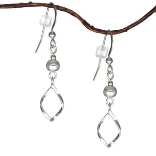 Silver Bead With Twist Marquis Drop Sterling Silver Earrings
