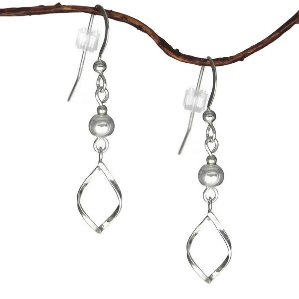 Jewelry by Dawn Silver Bead With Twist Marquis Drop Sterling Silver Earrings 9791822