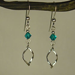 Jewelry by Dawn Twist Marquis With Teal Crystal Sterling Silver Earrings