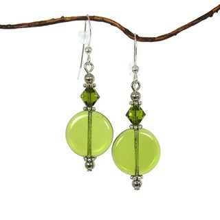 Olive Green Glass Coin Earrings