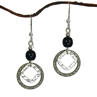 Black With Silver And Antique Silver Hammered Drop Earrings