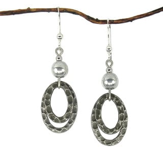 Jewelry by Dawn Silver With Oval Antique Silver Hammered Drop Earrings