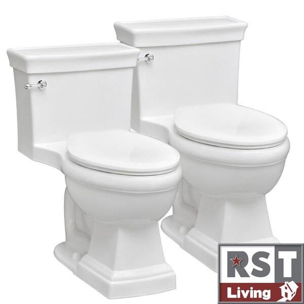 RST Living Julian One-Piece White Toilet Designer Set by Icera (Set of 2)