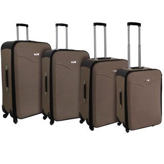 Kemyer Destinations Hipack Brown 4-piece Expandable Spinner Luggage Set